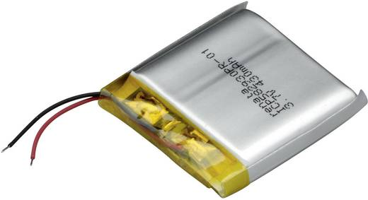 Renata lítium-polimer akku 3,7 V, 450 mAh, 32 x 29,5 x 6,2 mm, ICP582930PR-01