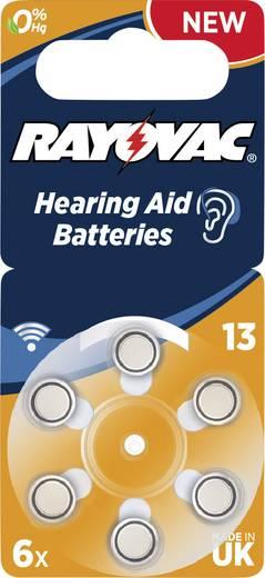 ZA13 hallókészülék elem, cink-levegő, 1,4V, 310 mAh, 6 db, Rayovac ZA13, PR48