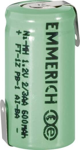 Forrasztható 2/3 AA akku NiMH 1,2V 600 mAh, forrfüles, Emmerich FT-1Z