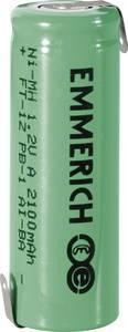Forrasztható speciális akku A NiMH 1,2V 2100 mAh, forrfüles, Emmerich FT-1Z (255035) Emmerich