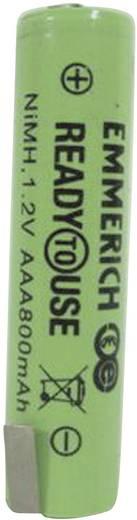 Forrasztható mikroceruza akku AAA NiMH 1,2V 800 mAh, forrfüles, Emmerich Ready to Use