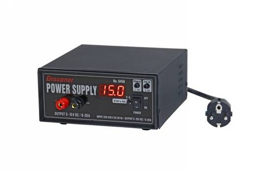 Graupner hálózati tápegység 230 V/AC, 300W 5-15V/DC 0-20A, 6459