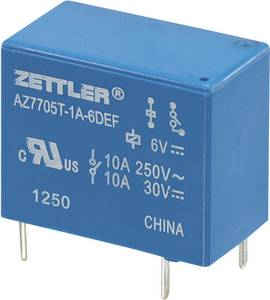 Miniatűr teljesítményrelé AZ7705, 5 A Zettler Electronics AZ7705T-1A-9DEF 9 V/DC 1 záró 5 A 30 V/DC/265 V/AC Zettler Electronics