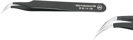 Hajlított hegyű műszerész csipesz, alkatrészfogó csipesz 120 mm hosszú Wiha ESD 32335