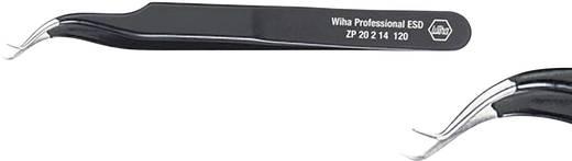 Hajlított hegyű műszerész csipesz, alkatrészfogó csipesz 120 mm hosszú Wiha ESD 32336
