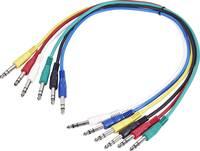 Jack patch kábel készlet 0,6 m, sztereo 6,3 jack dugó/dugó, több színű, Paccs Paccs
