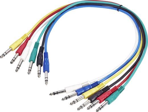 Jack patch kábel készlet 0,6 m, sztereo 6,3 jack dugó/dugó, több színű, Paccs