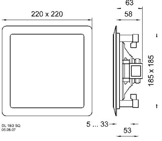 Mennyezetbe, falba építhető PA hangszóró, fehér színben 220 mm Visaton DL 18/2SQ ELA