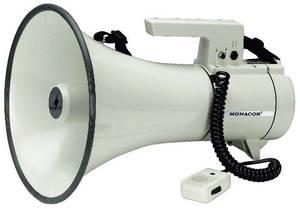 Megafon, hordpánttal, beépített hangokkal, kézi mikrofonnal, Monacor TM-35 Monacor