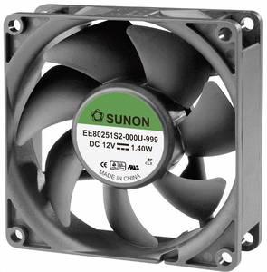 Axiális ventilátor 12 V/DC 62,86 m³/h 80 x 80 x 25 mm, Sunon EE80251S2-0000-999 Sunon