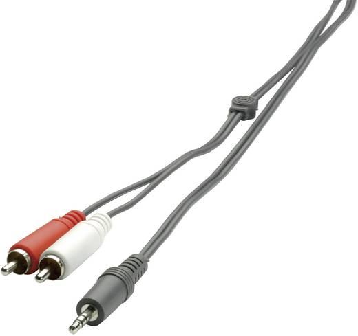 Jack - RCA audio kábel, 1x 3,5 mm jack dugó - 2x RCA dugó, 2 m, fekete, SpeaKa Professional 325090