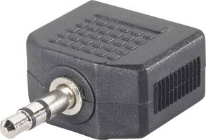 Jack elosztó adapter, 3,5 1 x dugó/2 x aljzat, fekete, SpeaKa Professional 50103 (SP-1300384) SpeaKa Professional