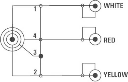 AV kábel 4 pólusú 2,5 jack dugó/3 x RCA dugó, 2,5 m, fekete, SpeaKa Professional 50207