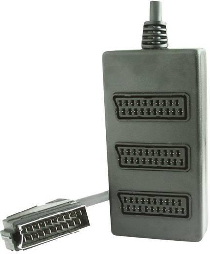 SCART AV elosztó kábel, 1x SCART dugó - 3x SCART aljzat, 0,2 m, fekete, SpeaKa Professional