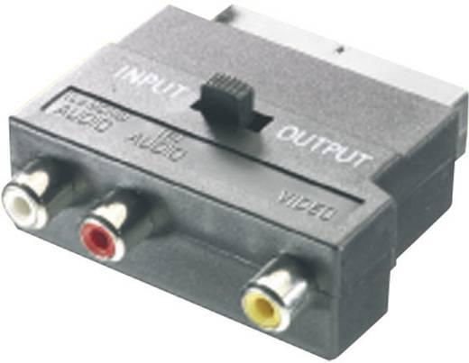 SCART dugó/3 x RCA alj adapter, átkapcsolós, SpeaKa 50149