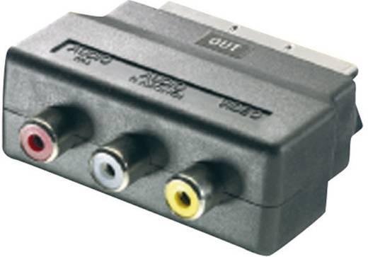 SCART - RCA átalakító adapter, 1x SCART dugó - 3x RCA aljzat (kimenet), fekete, SpeaKa Professional