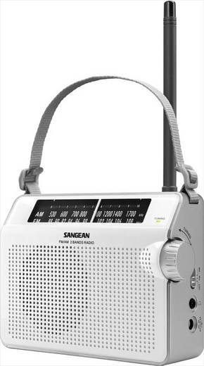 Sangean analóg táskarádió, hordozható rádió, fehér színben PR-D6
