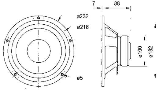 """Beépíthető mélynyomó hangszóró, mélysugárzó 8 Ω 8"""" Visaton W 200 S"""