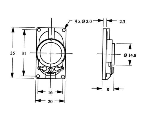 Miniatűr hangszóró LSM-SK-sorozat, 75 dB 8 Ω 2 W