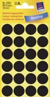 Öntapadós jelölő címke, kerek 18 mm átmérőjű, 96 db-os készlet, fekete, Avery-Zweckform 3003 Avery-Zweckform