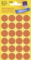 Öntapadós jelölő címke, kerek 18 mm átmérőjű, 96 db-os készlet, fényes piros, Avery-Zweckform 3172 Avery-Zweckform