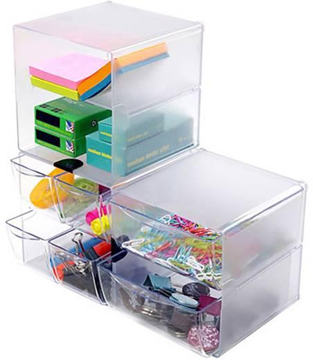 Irodai rendszerező, tároló Cube 4 fiókkal Üveg , Átlátszó 350301 Deflecto
