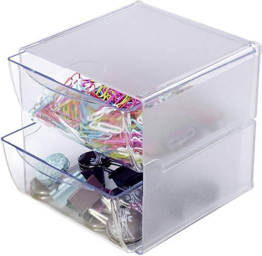 Irodai rendszerező, tároló Cube, 2 fiókkal Üveg , Átlátszó 350101 Deflecto