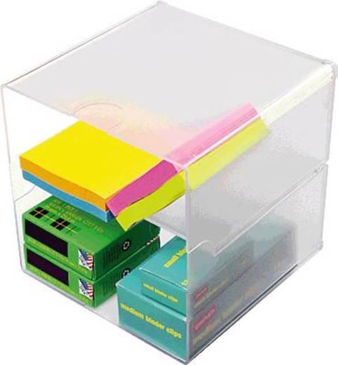 Irodai rendszerező, tároló Cube, egyedi elválasztókkal Üveg , Átlátszó 350701 Deflecto