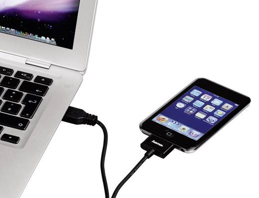 Apple töltőkábel iPhone iPad iPod adatkábel [1x Apple Dock dugó 30 pólusú - 1x USB 2.0 dugó A] 1.5 m fekete Hama 80803