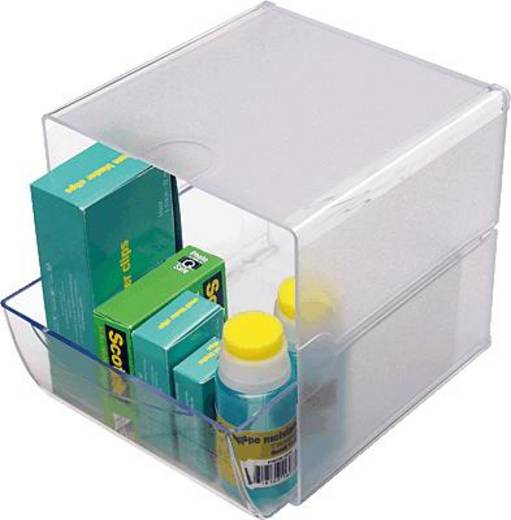 Irodai rendszerező, tároló Cube, 1 fiókkal Üveg , Átlátszó 350801 Deflecto