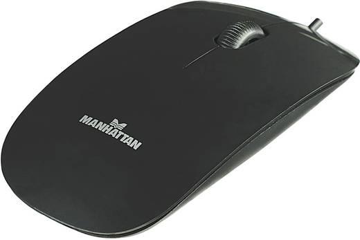 USB-s optikai egér, ultralapos kivitelű,fekete Manhattan Silhouette 177658