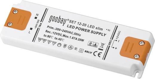 Vékony LED tápegység 20 W 12 V / DC 1670 mA , goobay SET 12-20