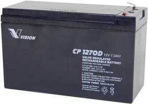 Ólomakku 12 V 7 Ah Vision akku VISION CP1270D CP1270D ólom vlies (AGM) 151 x 100 x 65 mm laposérintkezős dugó 4.8 mm Vision Akkus