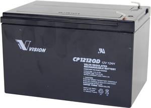 Ólomakku 12 V 12 Ah Vision akku VISION CP12120D CP12120D ólom vlies (AGM)151 x 101 x 98 mm laposérintkezős dugó 6.35 mm Vision Akkus