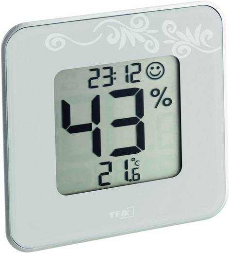 Digitális páratartalom-/hőmérő, fehér, TFA Style 30.5021.02