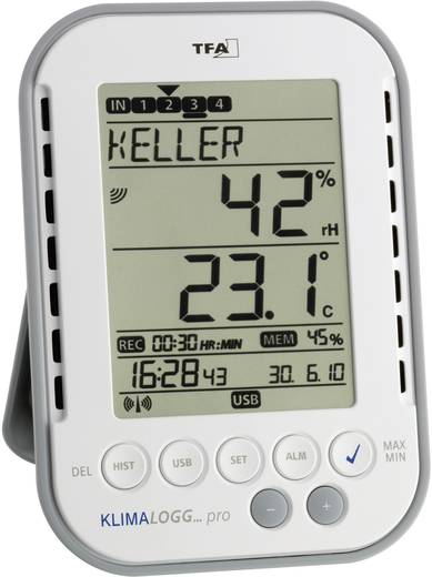 Hőmérséklet- és légnedvesség adatgyűjtő kezdő készlet, TFA Profi KlimaLogg Pro