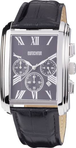 Kvarc karóra, (Ø x Ma) 37 x 51 mm, fekete/ezüst, bőr szíj, Eurochron Chrono 331