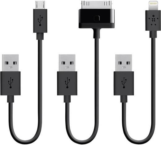Apple töltőkábel, adatkábel 3db-os készlet, iPhone iPad iPod készülékekhez 0.15m fekete Belkin 396683