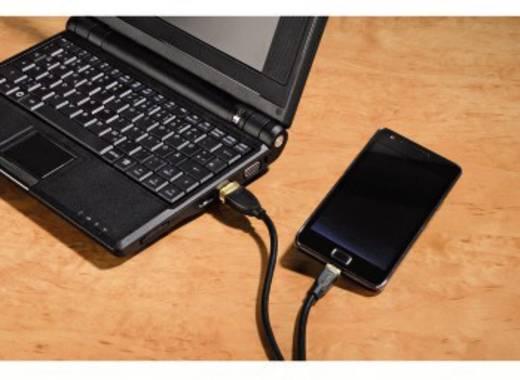 USB - mikro USB átalakító kábel [1x USB 2.0 dugó A - 1x USB 2.0 dugó mikro-B] aranyozott 1.80 m fekete Hama 78419