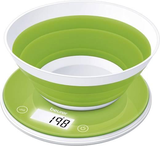 Konyhai mérleg összecsukható tállal, zöld/fehér, Beurer 70555
