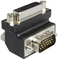 DVI - VGA átalakító adapter, 1x DVI aljzat 24+5 pól. - 1x VGA dugó 90°, fekete, Delock (1937074) Delock
