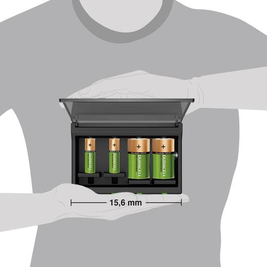 Univerzális hengeres akkutöltő, automatikus Duracell CEF22-EU Mikro (AAA)Ceruza (AA)Baby (C)Góliát (D)9 V-os