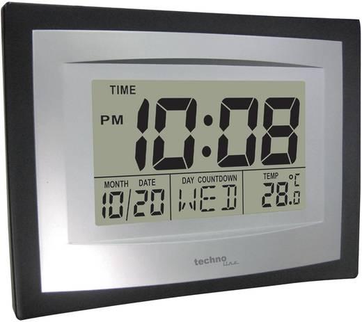 Digitális jumbo kvarc falióra, 35 x 220 x 170 mm, fekete/ezüst, Techno Line WS 8004