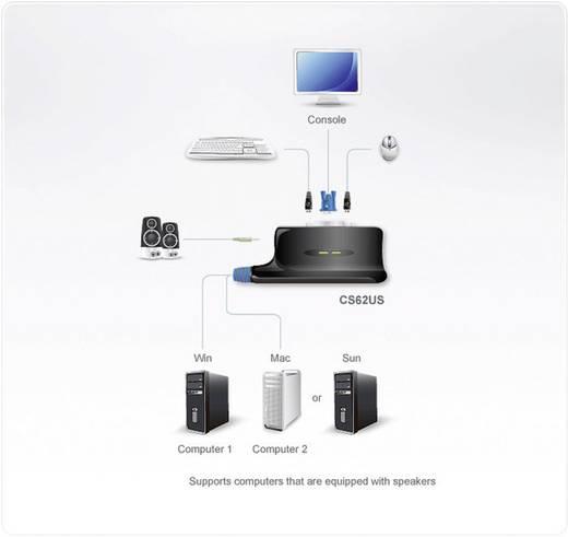 2 portos KVM switch USB-vel és VGA csatlakozókkal Aten CS62US-AT