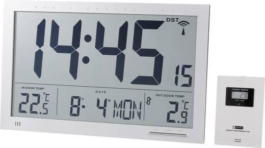 Rádiójel vezérelt digitális Jumbo falióra külső/belső hőmérővel 368 x 230 x 30 mm, ezüst