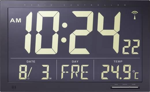 Rádiójel vezérelt digitális Jumbo falióra belső hőmérővel, 368 x 229 x 30 mm, fekete