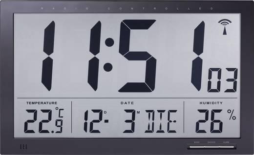 Rádiójel vezérelt digitális Jumbo falióra klíma kijelzéssel 370 x 230 x 30 mm, fekete