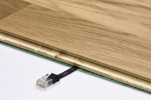 RJ45 Patch kábel, hálózati LAN kábel CAT 6 U/UTP [1x RJ45 dugó - 1x RJ45 dugó] 1.50 m Fekete Nagy rugalmasságú Goobay