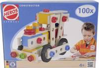 Fa építőjáték, Heros Constructor, 100 db, mozdony/kismotor/kocsi/robogó/repülőgép Heros