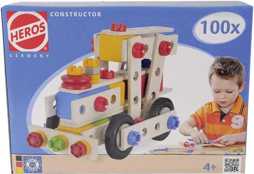 Fa építőjáték, Heros Constructor, 100 db, mozdony/kismotor/kocsi/robogó/repülőgép